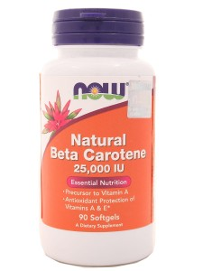 Beta karoten carotene natural 25000IU - Now - 90 kapsułek